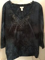 Chicos Size 3 Top Blouse Blue & Black Paisley Rhinestones 3/4 Sleeve Made in USA