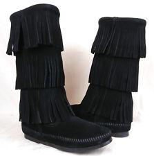 NEW Minnetonka 1639 Sz 6 US Women's 3 Layer Fringe Black Leather Moccasin Boots