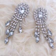 Club Rheinstones Fringe Pierced Earrings Evening Bridal Maid Wedding X'mas Party