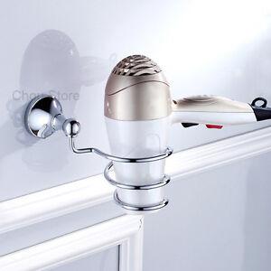 Home Salon Wall Mount Spiral Blow Dryer Holder Rack Hair Drier Storage Organizer