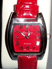 Lucien Piccard Women Red Leather Suncoast Collection Watch Diamond Rhodium