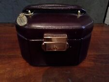 BURGUNDY LEATHER JEWELLERY CASE WITH HANDLE AND KEY