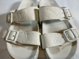 LOUIS VUITTON Leather Slip-On Men's Sandals UK Size 9 White JAPAN USED