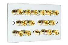 Flat Plate 7.1 Speaker Wall Face Plate Mirror Chrome Binding Posts Audio RCA