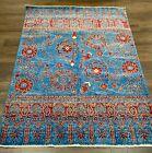 Top Quality New Handmade Pakistani Modern Rug,Turquoise & Rust,Floral Tribal 5x6