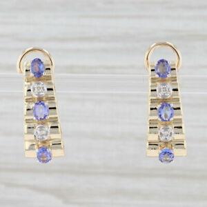 1.24ctw Tanzanite Diamond Journey Earrings 14k Yellow Gold Pierced Drops