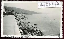 Menton. Alpes-Maritimes . la plage . photo ancienne . septembre 1946