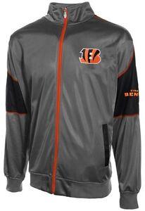 Cincinnati Bengals Mens Full Zip Tricot Charcoal Track Jacket Big & Tall Sizes