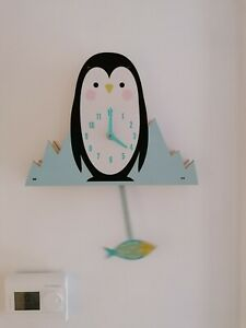 New REX London wooden 3d Milo the Penguin  child's nursery wall clock boxed