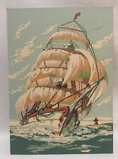 Vintage Nautical Tall Masted Sailing Ship Paint by Number Pirate 10 x 14