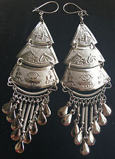 Bohocoho ECCENTRICO Stile Hippy/Boho Gypsy FAB Anni Settanta Stile Grande Silver Orecchini Fringe