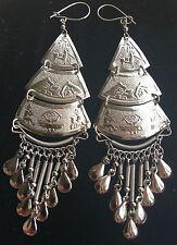 BohoCoho Quirky Boho Hippy Gypsy fab '70s style BIG silver fringe earrings