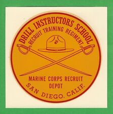 "VINTAGE ORIGINAL 1965 MARINES ""DRILL INSTRUCTORS SCHOOL"" USMC WATER DECAL ART"