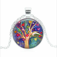 Tree of Hearts Tibet silver Glass dome Necklace chain Pendant Wholesale