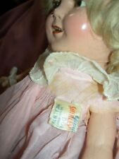 "13"" compo. sgnd. Ideal Shirley Temple doll, original wig, tgd. dress, clear eyes"
