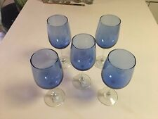 WINE GLASSES BLUE GREENBIER INT. - MADE IN USA #870930 - 18.5 OZ - 5 TOTAL - NEW