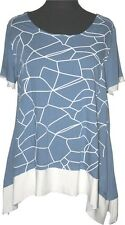 ►►► ZEDD..PLUS ◄◄◄ LEINEN T-SHIRT 2-in-1 LOOK GR.48/50 (3) JEANS BLAU