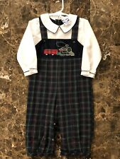Carriage Boutiques Dressy 24 M Boys Navy Checked Romper w/Train and White Shirt
