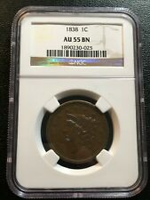 1838 Large Cent Ngc Au-55 - About Uncirculated - Type Coin - Certified Slab - 1C