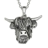 Highland Cattle Necklace Cow Pendant Womens Silver Fashion Jewellery Gift Boxed
