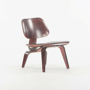 1954 Herman Miller Eames LCW Lounge Chair Wood Refinished Red Aniline with Label