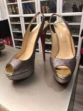 Chriatian Louboutin Size 39 Multi Glitter Lady Peep Sling 150  Pumps Heels 8 9
