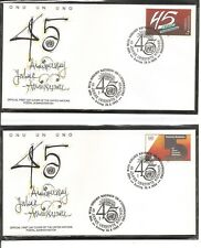 United Nations Vienna # 103-104 U.N 45th Annivesary FDC. WFUNA