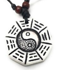 Carved YIN YANG BAGUA Necklace - Surfer - White - UK Stock