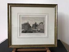 Marktplatz Wesel mit Rathaus und Willibrordikirche  Stahlstich 1855 Kolb Rohbock