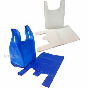 Plastic Vest Carrier Bags Blue OR White Supermarkets Stalls Shop ALL SIZES Cheap