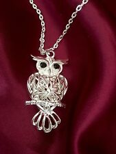 "Owl Black Crystal  Rhinestone Eyes, 24""  Silver Plated Necklace Mother's Day Mum"