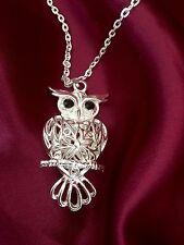 "Owl Black Crystal  Rhinestone Eyes, 24""  Silver Plated Necklace, Valentine Gift"