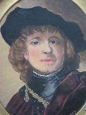 EARLY VINTAGE OIL/ACRYLIC FRAMED PORTRAIT PAINTING CANVAS SIGNED GENTLEMAN