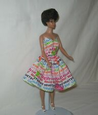 Handmade SHORT Cotton White with Bright Colors Words Print Dress FOR Dolls