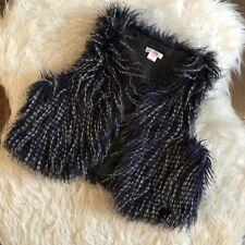Xhilaration Girls Medium 7/8 Blue White Fuzzy Open Front Vest