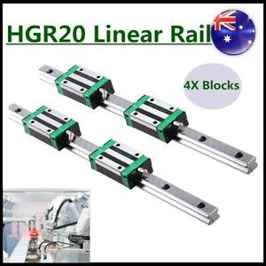 Linear Guide Rail 2PCS HGR20 200mm-1700mm + 4PCS HGH20CA Slider Block For CNC AU