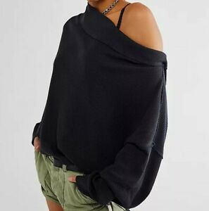BNWT Free People Close To You oversize waffle off shoulder slouchy jumper top XS