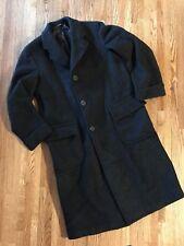 Vtg 1949 Men Top Coat Overcoat Trench HEAVY Thick Charcoal Dark Grey Mid Century