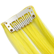 "20"" Clip in Hair Extensions HIGHLIGHTS Neon Yellow Straight 8pcs 1"" 50g"