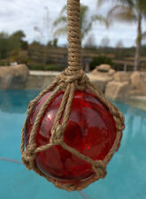"5.5"" RED Glass Buoy Float Rope Nautical Ball Bouy Tiki Fishing"