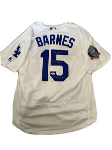 """Austin Barnes Signed Majestic Jersey """"2018 NLCS CHAMPS VAMOS DODGERS"""" Inscribed"""