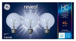 3 Pack GE Reveal HD+ Light 40-Watt G25 Clear Globe Light Bulbs w Medium Base