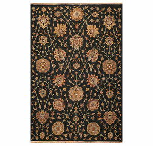 """5'10""""x8'10 Hand Knotted Soumac 100% Wool Reversible Flat Pile Area Rug Black"""