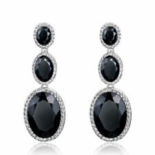"SILVER PLATED LARGE BLACK CRYSTAL SAPPHIRE STUD EARRINGS  "" BIG "" & STUNNING !"