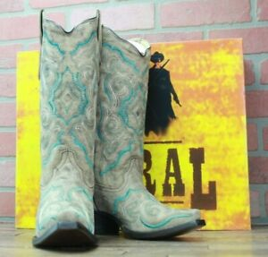 Corral Ladies Snip Toe Leather Cowboy Boots Turquoise Brown E1002 Size 6M