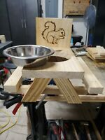 Handmade Squirrel Picnic Table with Metal Bowl. Thick wood used and waterproofed