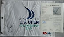 Jordan Spieth Autographed Signed 2015 US Open Pin Flag JSA Letter Chambers Bay