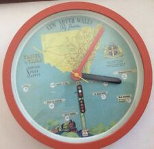 NSW RAILWAYS MAP 1938 MAITLAND BATTERY OPERATED WALL CLOCK NEW ROYAL EASTER SHOW