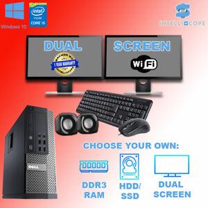 DUAL SCREEN DELL/HP i5 QUAD DESKTOP PC COMPUTER SET 16GB WINDOWS 10 HDD & SSD