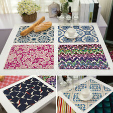 Placemats Cotton Linen Dining Room Table Mat Heat Insulation Pad Kitchen 1pc